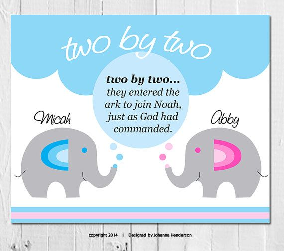 Elephant Twin Nursery Wall Art Nursery Room Decor For Twins: Two By Two: Baby Customized Verse With Twin Names + Baby