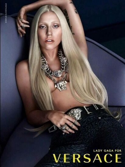Lady Gaga Topless in New Versace Ad