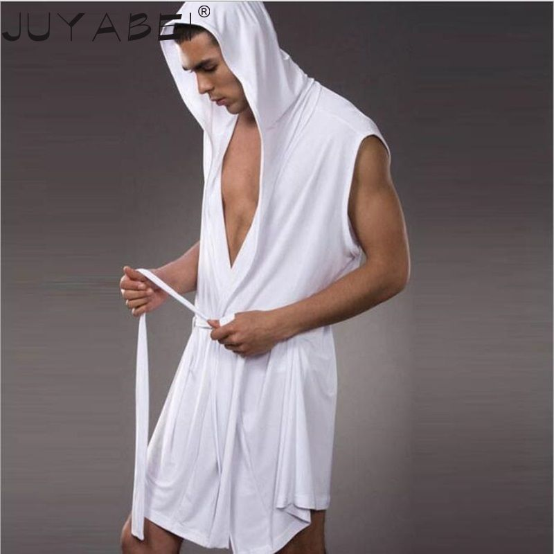 2017 Men s Robes Comfortable Casual Bathrobes Sleeveless Viscose Sexy  Hooded Robe Homewear Mens Sexy Sleepwear Lounge Clothes  Affili… feb549f3e