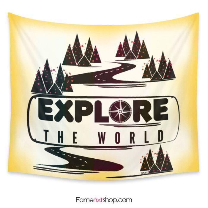 Explore the world Tapestry  #tapestry #wallart #homedecor #interiordesign #tumblr #typography #quote #adventure