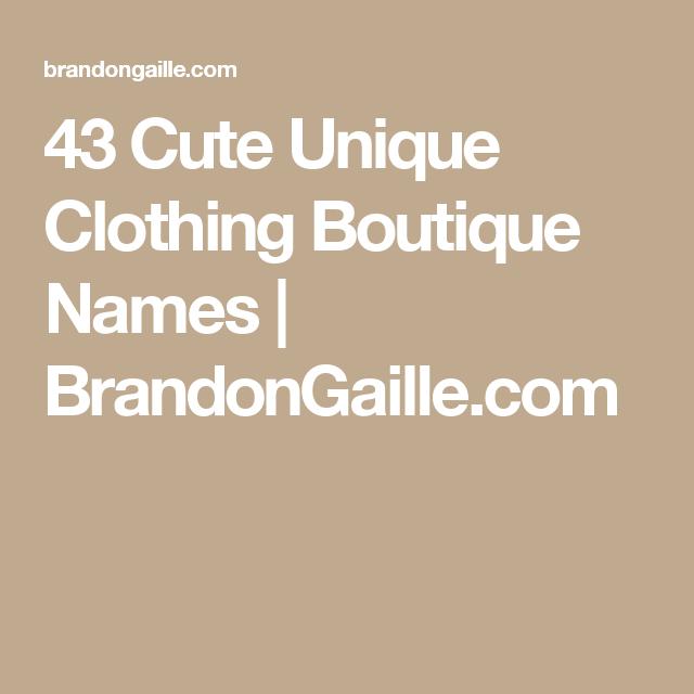 Unique Clothing Names
