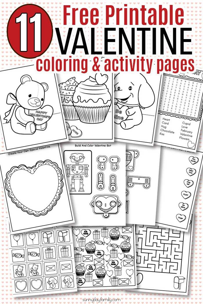 Free Printable Valentine Coloring Pages & Activity Sheets for Kids ...