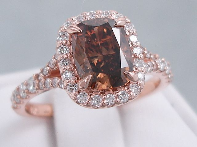 this is our amazing 225 ctw cushion cut chocolate diamond engagement ring it has an - Chocolate Wedding Ring