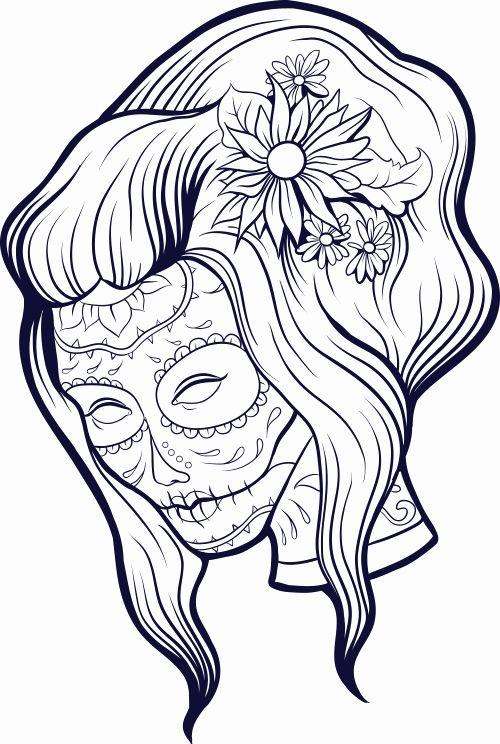 Printable Sugar Skull Coloring Pages Unique Sugar Skull ...