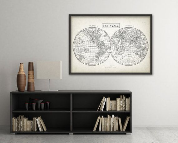 Vintage world map wall art print antique home decor vintage map vintage world map wall art print antique home decor vintage map of the world gumiabroncs Gallery