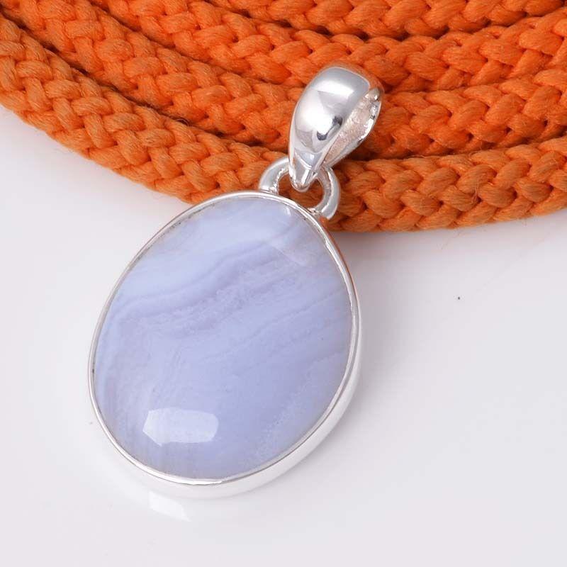 925 STERLING SILVER REAL BLUE LACE AGATE PENDNAT 4.05g DJP4478 #Handmade #Pendant