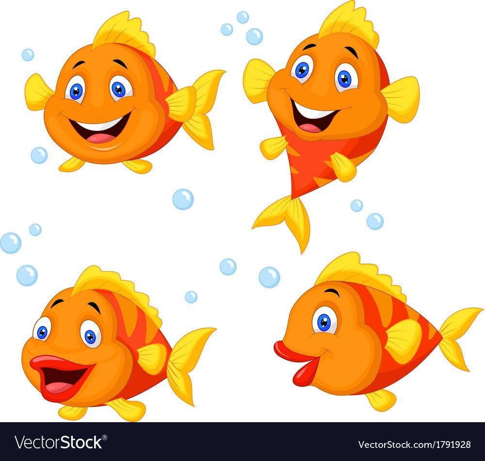 Cute Fish Cartoon Collection Set Vector Image On Cute Fish Girl Holding Balloons Cartoon