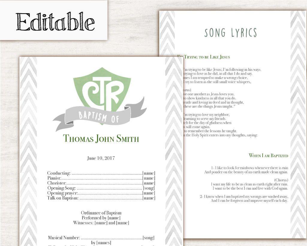 Instant Download Editable Lds Baptism Program Lds Printable Digital Handout Boy Baptism Green