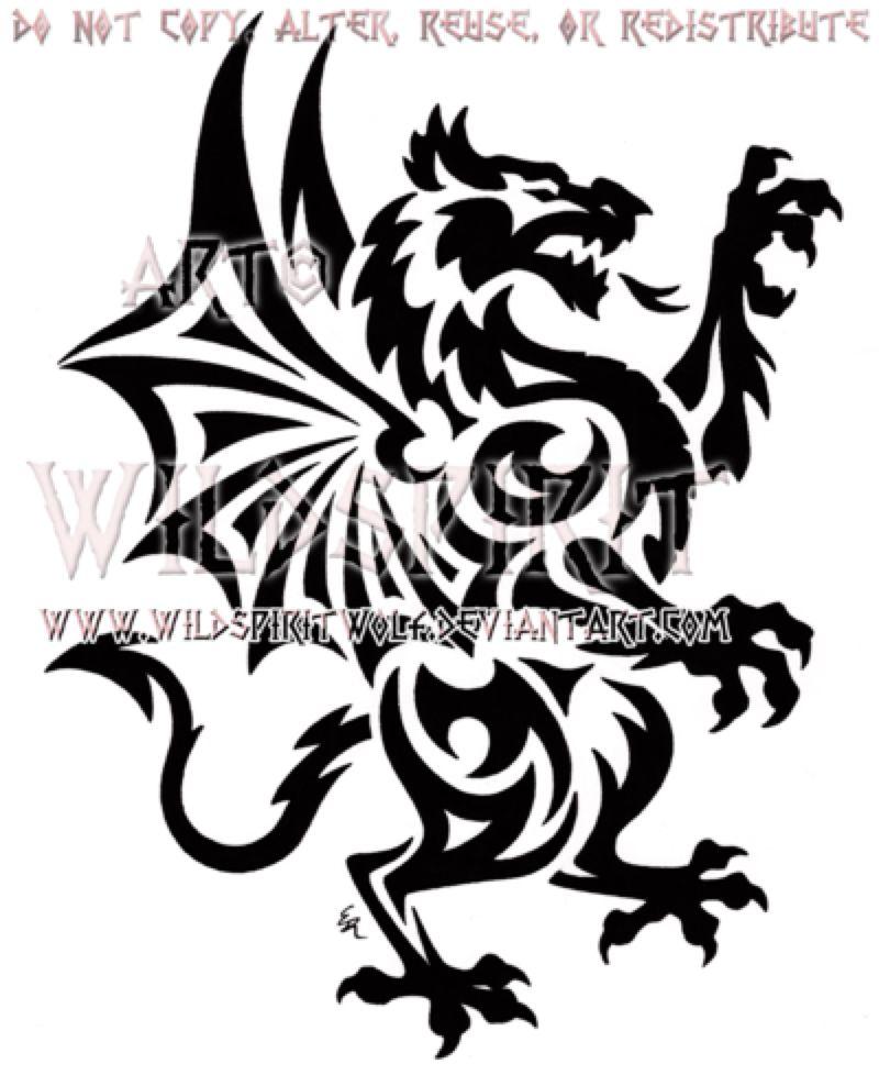 Rampant welsh dragon tribal design by wildspiritwolf on rampant welsh dragon tribal design by wildspiritwolf on deviantart buycottarizona