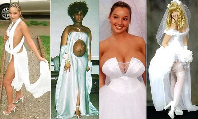 Are These The Worst Wedding Dresses Ever Worst Wedding Dress Funny Wedding Dresses Wedding Dress Fails