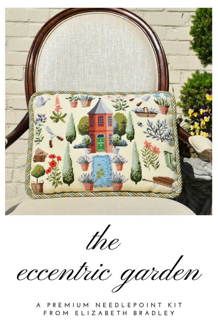 A Beautiful Needlepoint Pillow Kit With Botanicals Click For