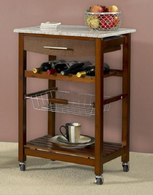 Kitchen Cart Granite Top Island Rolling Storage Cabinet Table