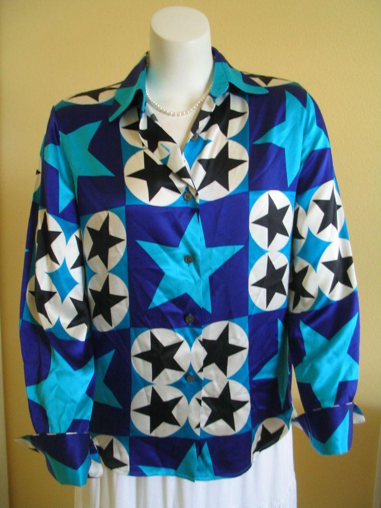 c01be38aa2a884 LINDA ALLARD ELLEN TRACY 100% Silk Blouse Shirt Multi Color Size 12   LindaAllardforEllenTracy  Blouse  Versatile