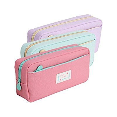Cute Zip Fabric Pencil Case With Sharpener Ideal For School//College Make up Bag