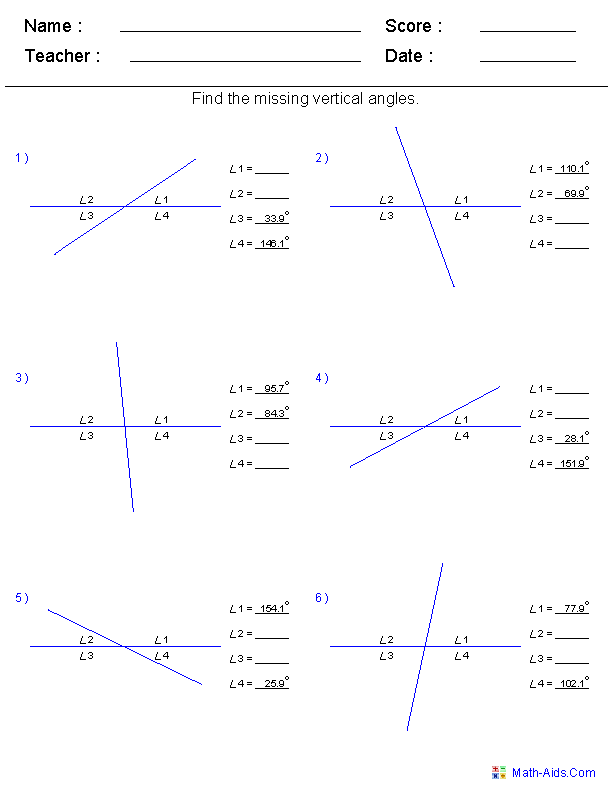 Geometry Worksheets Angles Worksheets For Practice And Study Vertical Angles Angles Worksheet Geometry Worksheets