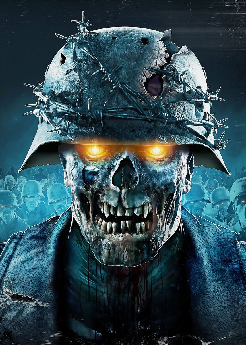 Zombie Army 4 Dead War Metal Poster Print Hyperart S Displate Zombie Army Skull Wallpaper Zombie Wallpaper