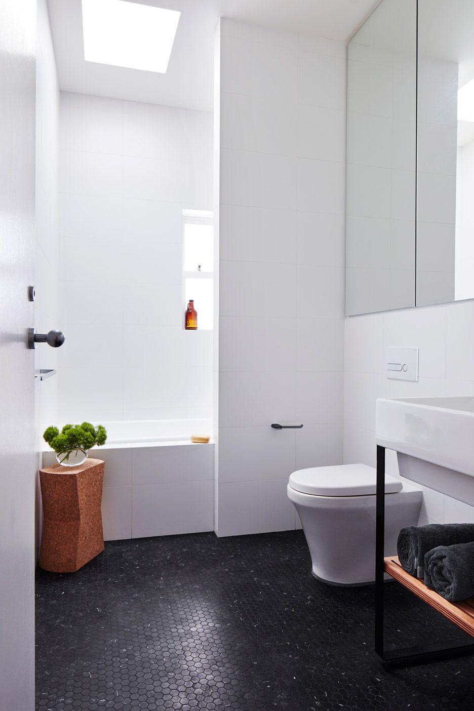 Bathroom large white wall tiles black hexagon mosaic