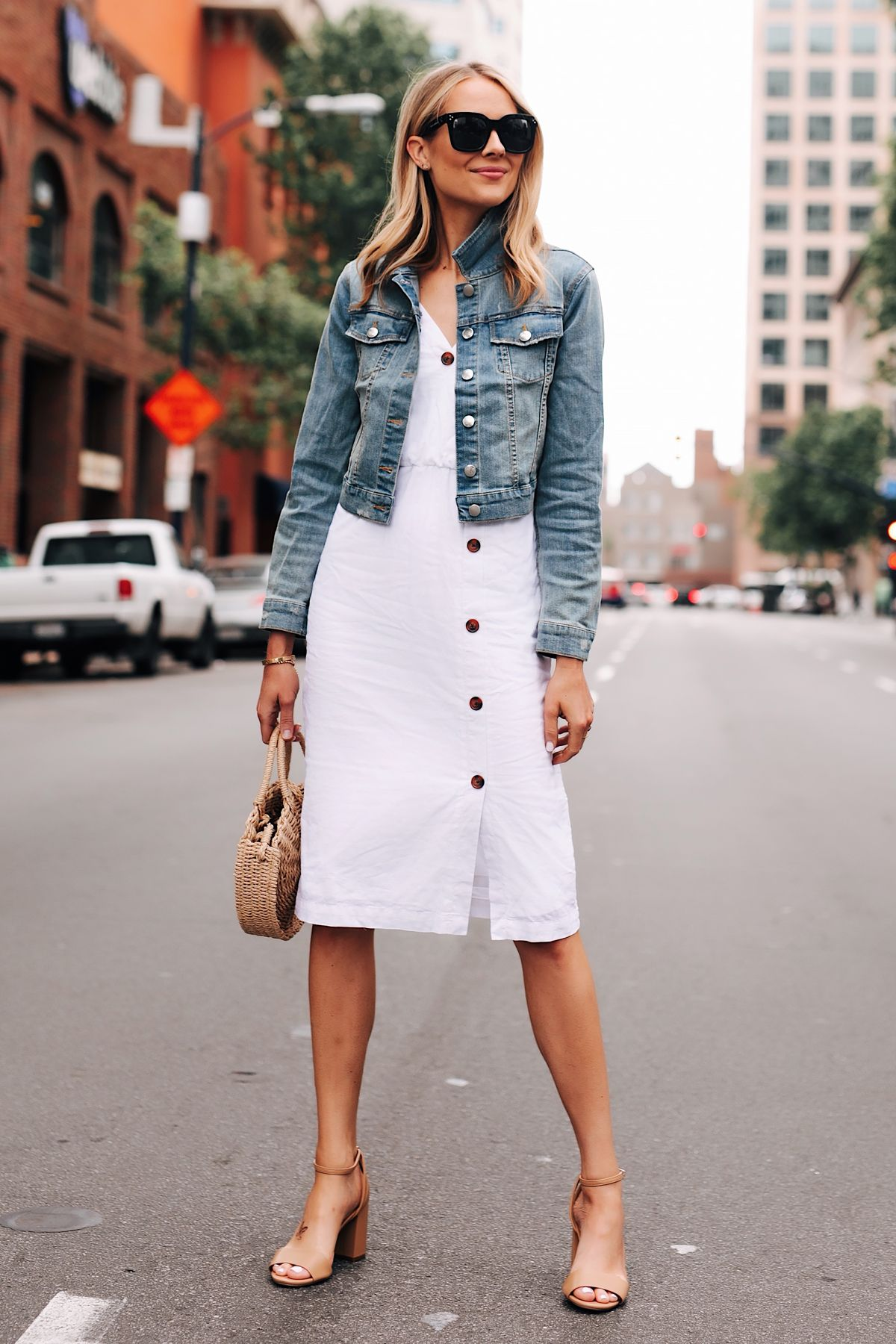Fashion Jackson Wearing Denim Jacket White Midi Dress Tan Ankle Strap Heeled Sandals Fashion Jean Jacket Outfits Fashion Jackson [ 1800 x 1200 Pixel ]