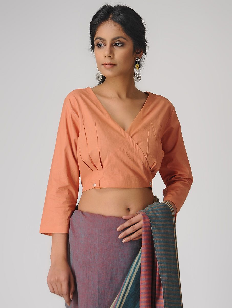 3ca00caa62b43 Buy Coral Natural dyed Cotton Blouse The Jaypore Label Online at Jaypore.com