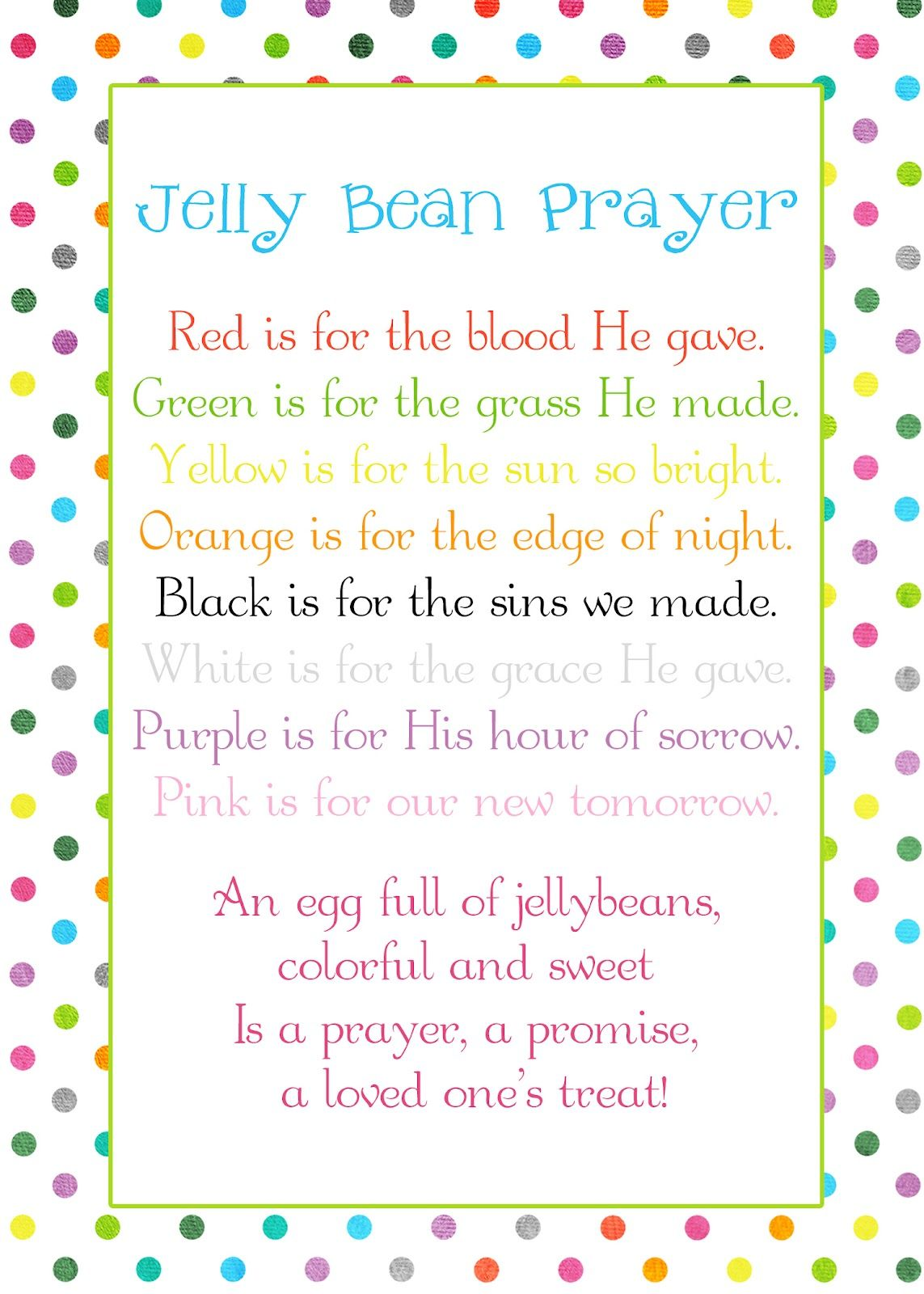 The Family A Proclamation To The World Jelly Bean Prayer Poem