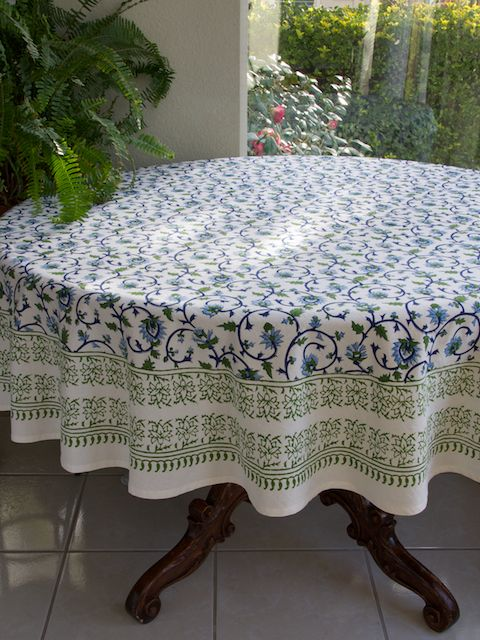 Moonlit Taj Turquoise Elegant Floral Round Indian Tablecloth