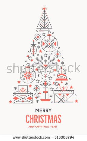 Christmas greeting card template with outlined signs forming a tree - greeting card template