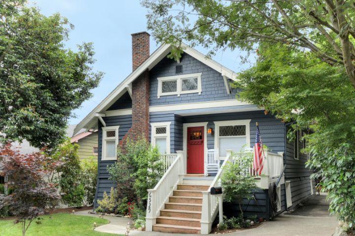 Red Door Grey House gray craftsman house red door | modern craftsman & colonial home