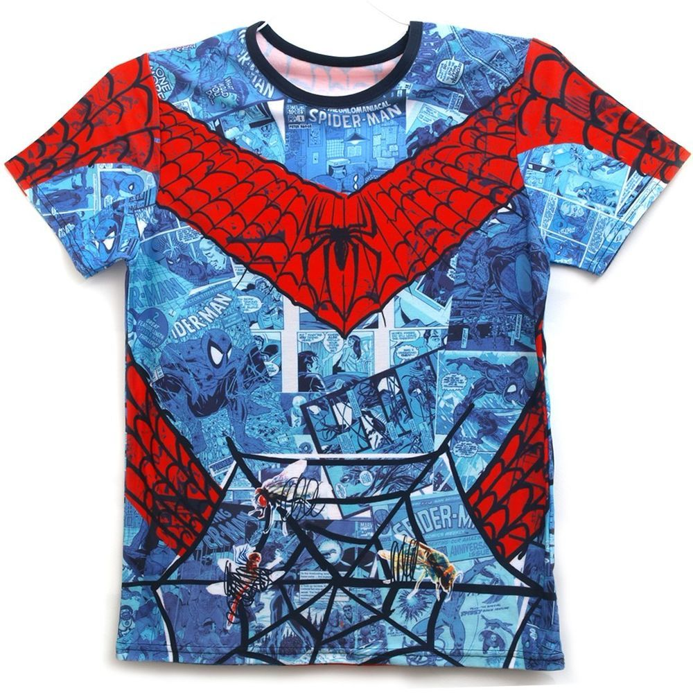 13a432715 All Over Full Printing Handmade Custom Men's Graphic Spider Man T Shirts-mov1.-We  use Eco-Friendly Ink.