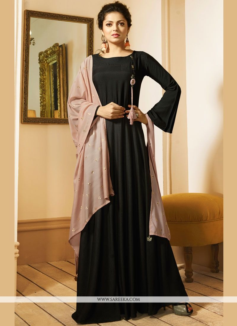 f9576480d Stand out from rest with this black art silk party wear kurti. The charming  plain work a intensive element of this dress. (Slight variation in color