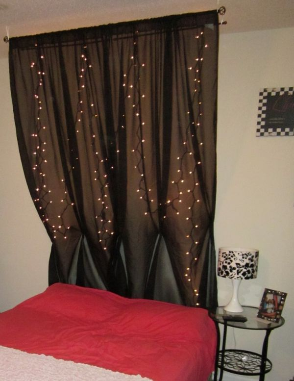 101 Headboard Ideas That Will Rock Your Bedroom White string lights, Sheer curtains and Black dark
