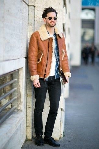 comment porter une veste en peau de mouton retourn e en 2016 26 tenues mode hommes look. Black Bedroom Furniture Sets. Home Design Ideas