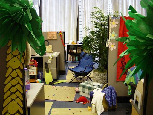 Beach theme cubicle all in a days work pinterest for Cubicle theme ideas
