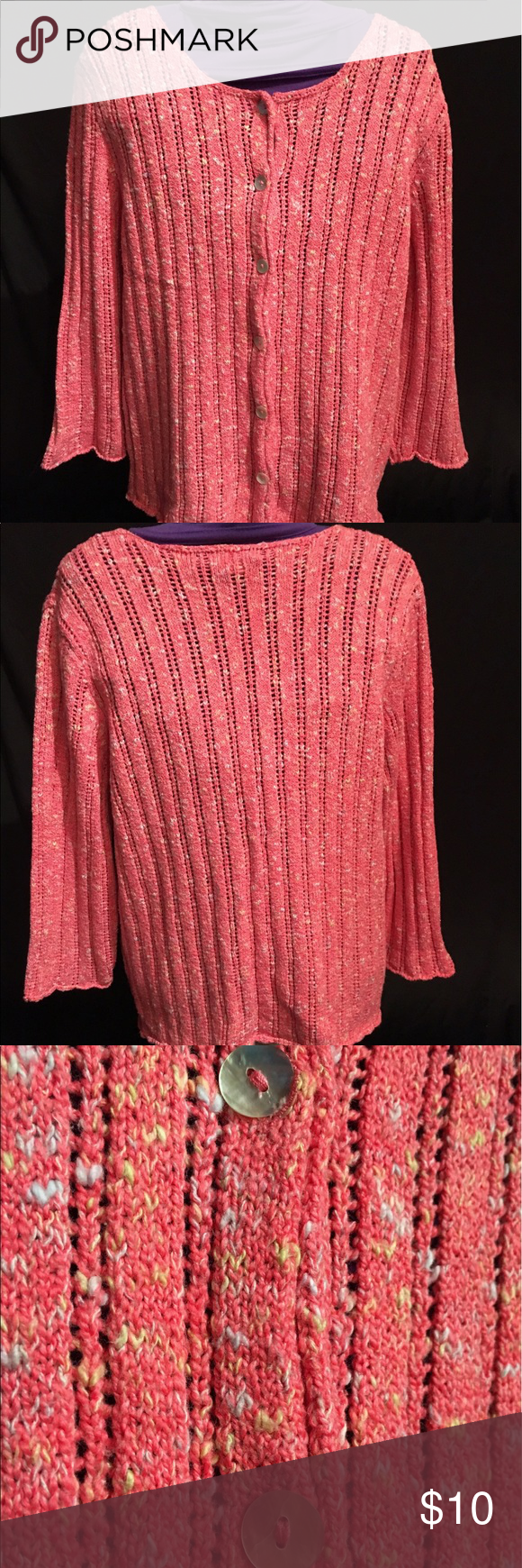 Christopher & Banks Pink Button Down Sweater | Pink, Sweater ...