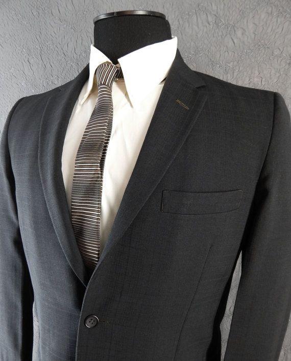 Vintage 1960s Mens Sport Coat – Richman Brothers - Dressy Black on Black Plaid – Narrow Lapels Jacket. 39 40 snD5Zgf8E