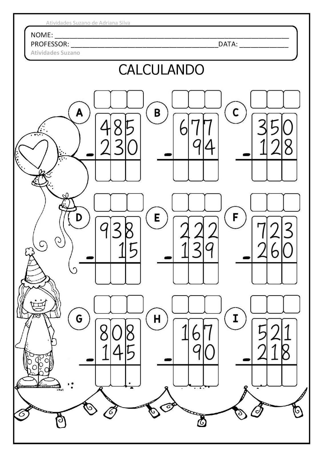 Matematica Com Imagens Atividades De Subtracao Atividades De