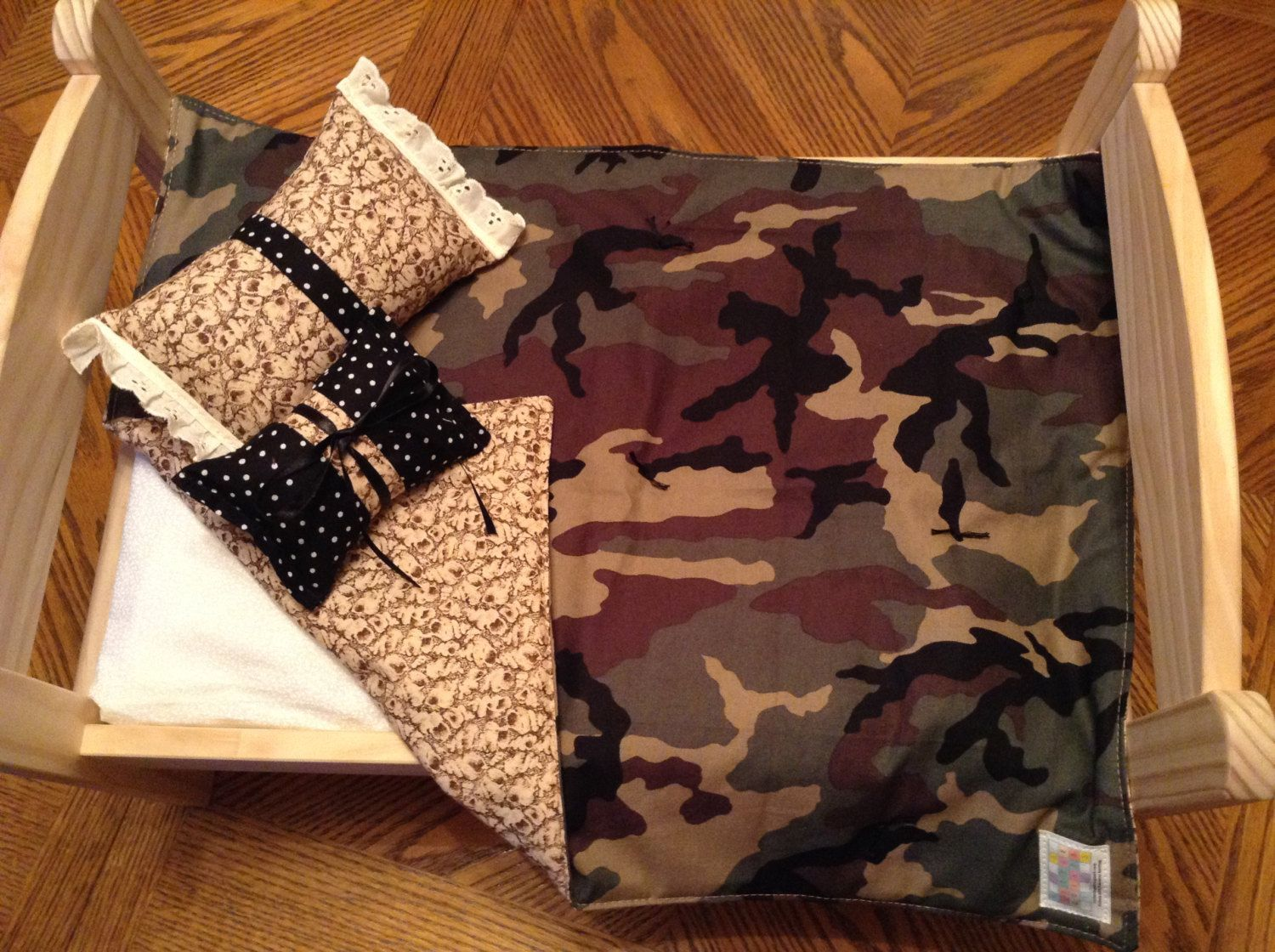 A personal favorite from my Etsy shop https://www.etsy.com/listing/216744133/camouflage-doll-blanket-with-reverse