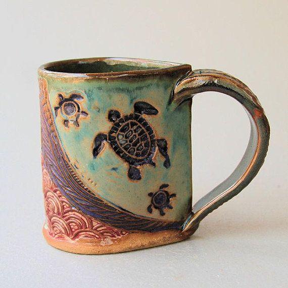 Sea Turtle Pottery Mug Coffee Cup Handmade Stoneware Tableware Microwave and Dishwasher Safe 12 oz #coffeecup