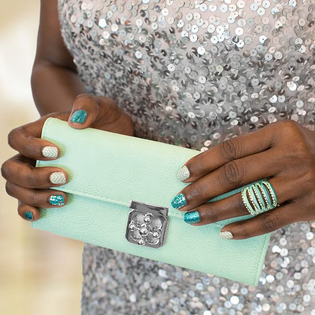 True blue turquoise aqua and white silver nails for prom | Jamberry ...