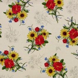 Tela de Patchwork estampada con bonitos ramilletes de flores multicolor con fondo beige. El precio de la unidad es el cuarto. Ancho 1,10mt