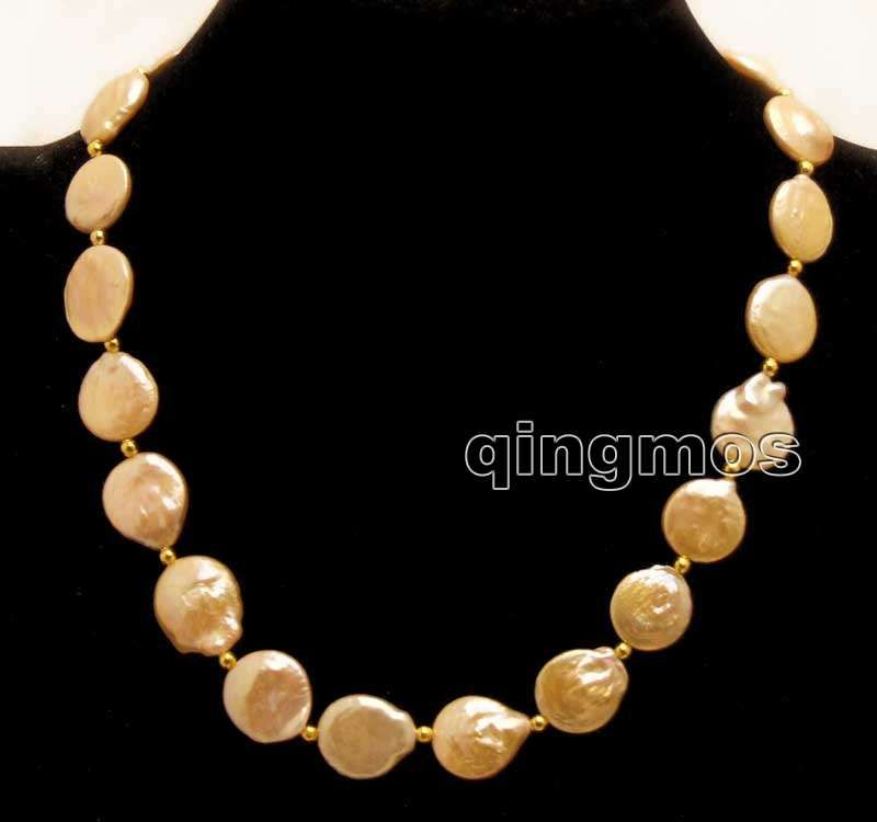 Big 14-15mm Pink Coin Round Natural Freshwater Pearl 17'' Necklace-nec5690 Free shipping Free shipping