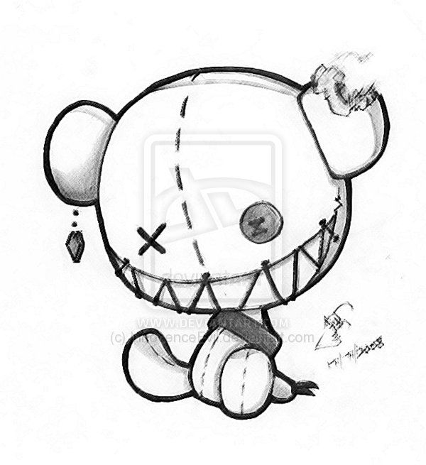 emo bear coloring pages | morbidly cute | behhh in 2019 | Art drawings, Scary ...