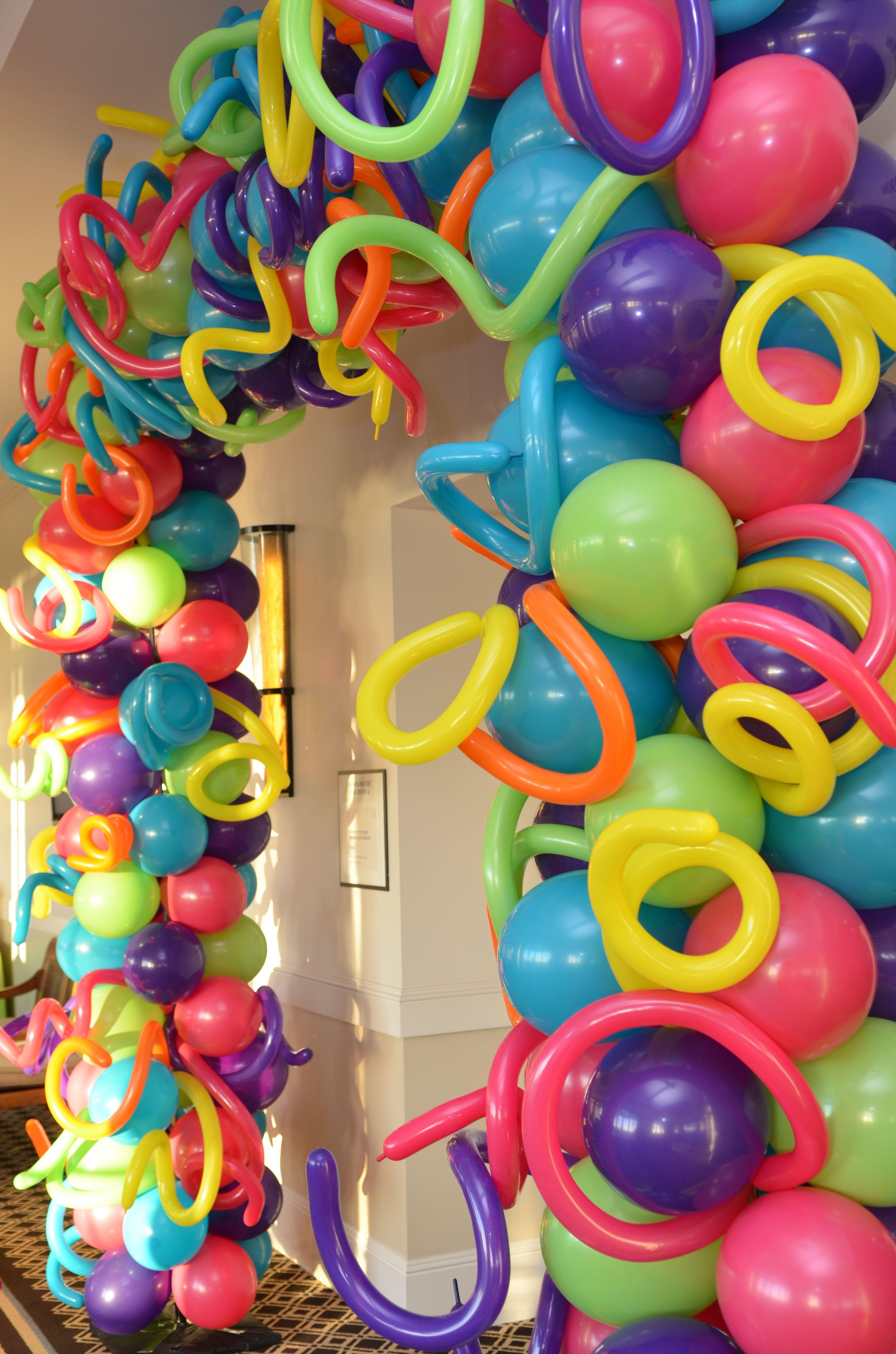 Crazy balloon arch framedair filled balloons party
