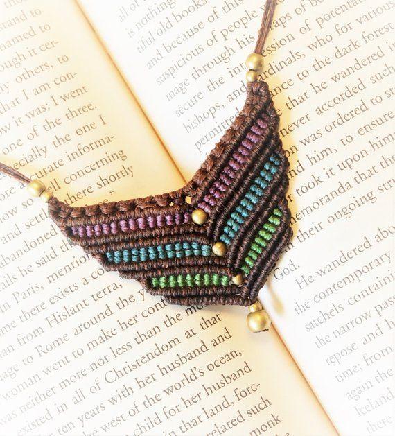 Colgante de macrame en forma de V con collar macrame tribales collar de tamaño ajustable estilo étnico joyería Bohemia