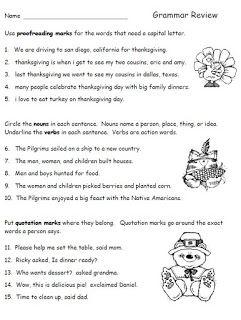 Thanksgiving Grammar Review for Second Grade   grade 2   Pinterest ...
