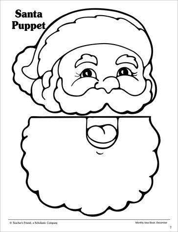 Santa Paper Bag Puppet Pattern Scholastic Printables