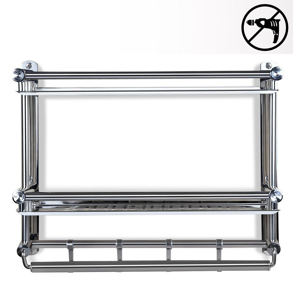 Tiang Bathroom Shelf With Towel Bar No Drilling Stainless Steel Wall Mounted Shelf Organizer With 4 Hooks 20 In Wall Mounted Shelves Toilet Hotel Hotel Kitchen
