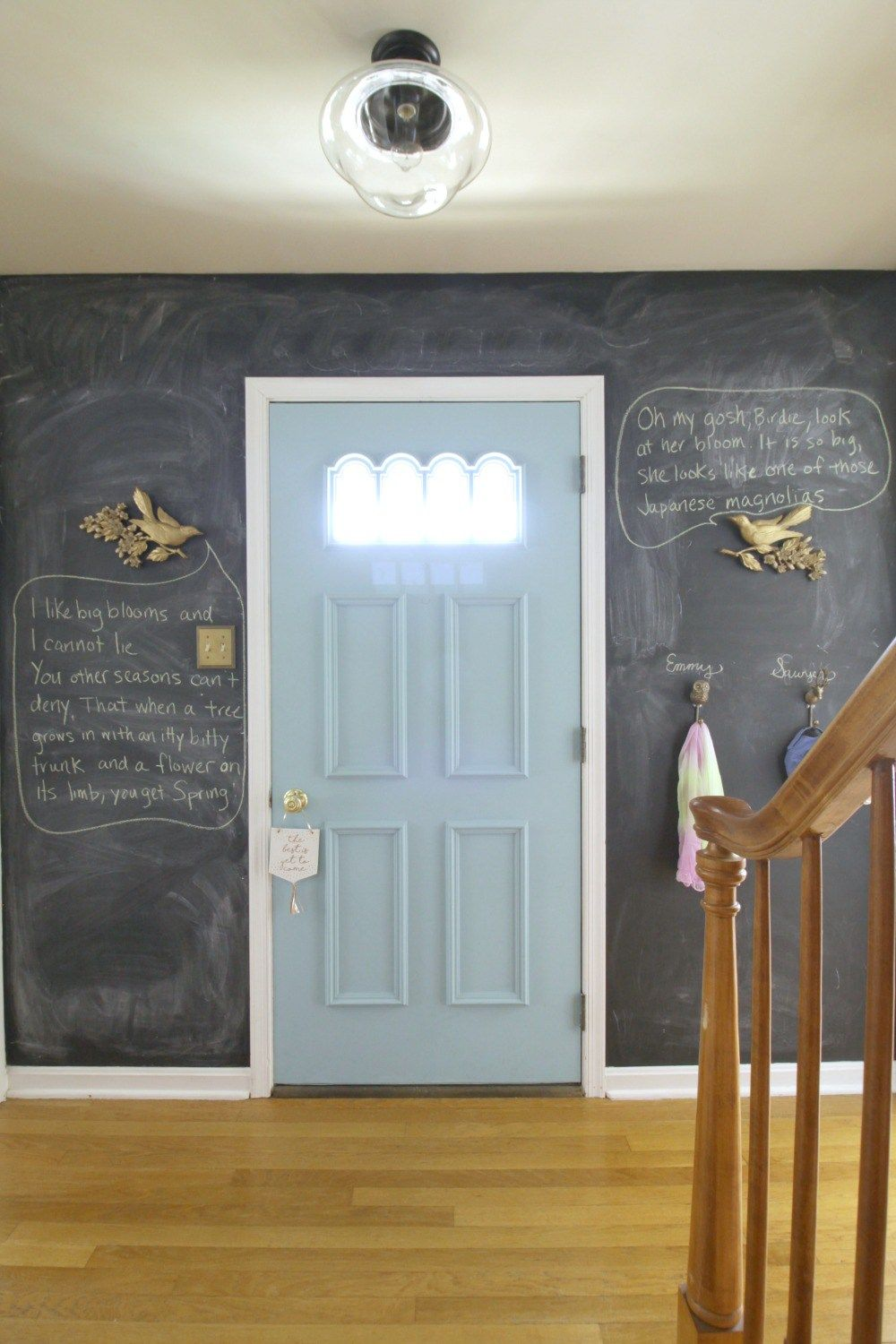 Chalkboard Wall in entry- funny Spring birds and quotes | Decor ...