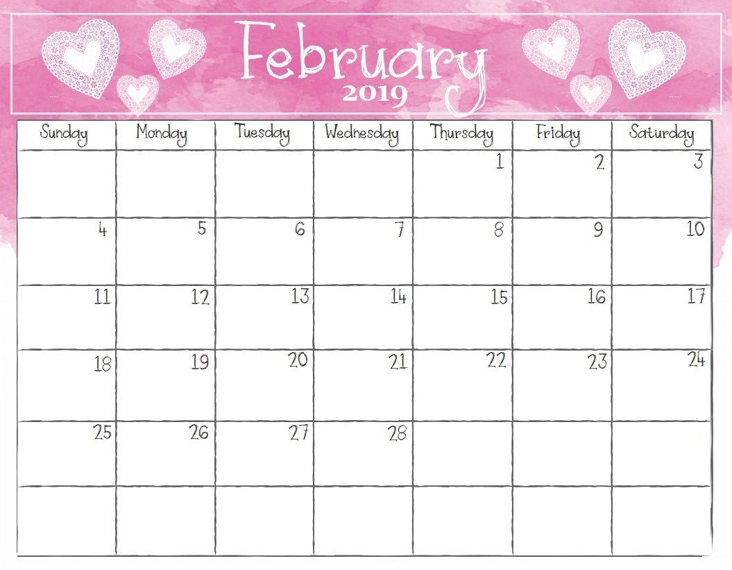 Watercolor February 2019 Calendar Calendar 2018 February