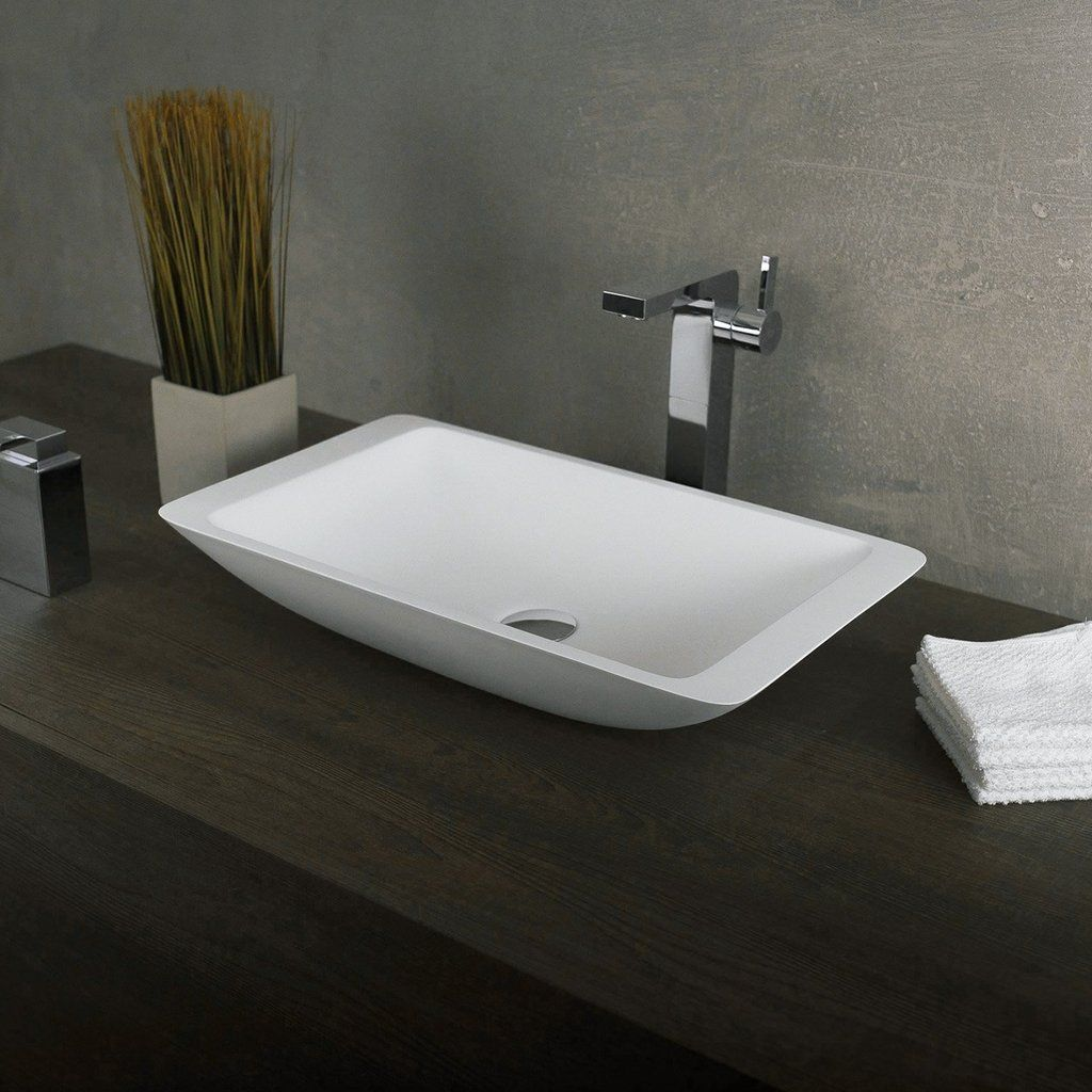 Dax Solid Surface Rectangle Single Bowl Bathroom Vessel Sink White Matte Finish 22 7 8 X 13 3 8 X 4 Inches Dax Ab 1321 Vessel Sink Bathroom White Vessel Sink Sink