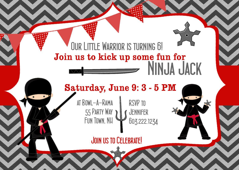 Ninja Birthday Party Invitation Ninja Warrior Birthday Party ...